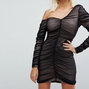 ASOS Black One Shoulder Ruched Dress Women's 6